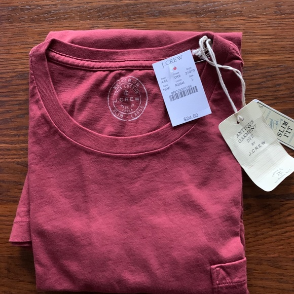 J Crew Antique Dye shirt sleeve T shirt NWT Sz L
